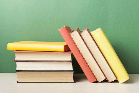 law school: Stack of colorful books. Education background. Back to school. Copy space for text Stock Photo