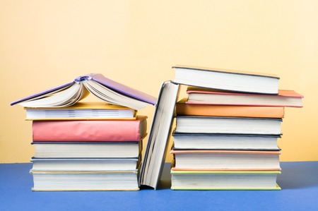 Stack of colorful books. Education background. Back to school. Copy space for text Stock Photo