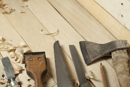 Construction tools on wooden background.Copy space for text. 版權商用圖片