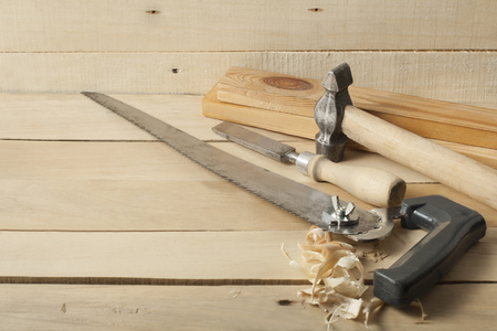 Construction tools on wooden background.Copy space for text. Imagens
