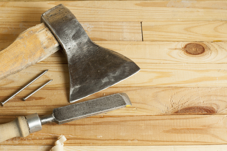 Construction tools on wooden background.Copy space for text. Banque d'images