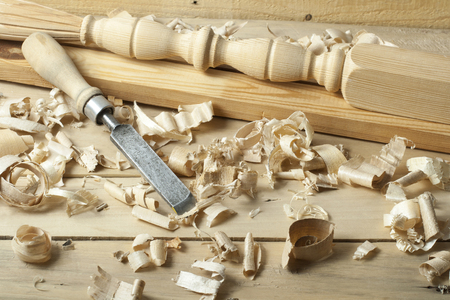 Carpentry concept.Joiner carpenter workplace. Construction tools on wooden table with sawdust. Copy space for text. Stockfoto