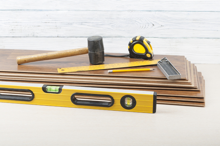 Carpentry Conceptdifferent Tools For Laying Laminate Flooring