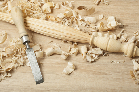 Carpentry concept.Joiner carpenter workplace. Construction tools on wooden table with sawdust. Copy space for text. Stock Photo
