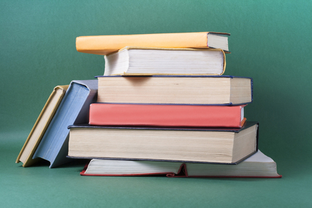 Stack of colorful books. Education background. Back to school. Фото со стока