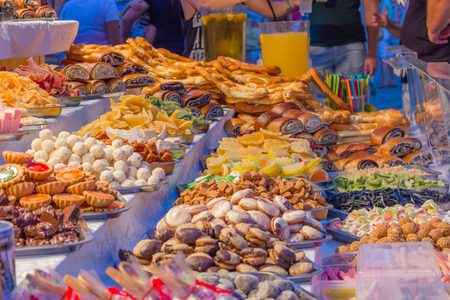 Vibrant and colorful candies at the market