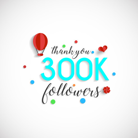 300k followers vector illustration for Web user celebrates a large number of subscribers 向量圖像