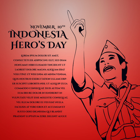 あいさつ文用のベクトル背景デザインイラストレーション。インドネシアの英雄の日のイラスト。