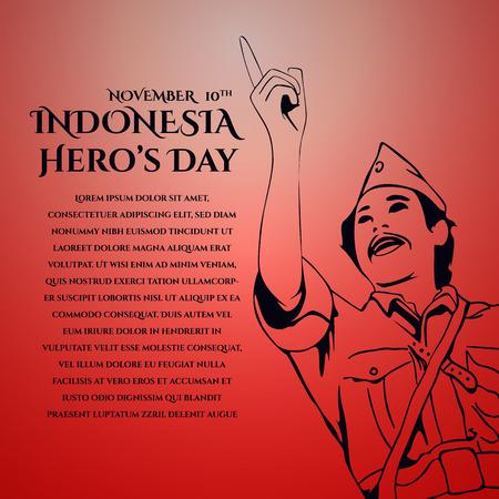 Vector achtergrondontwerpillustratie voor groeten. De illustratie van de Helden van Indonesië van Indonesië.