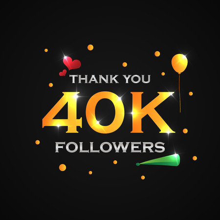 40k followers vector illustration for web user celebrates a large number of subscribers Illustration