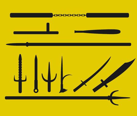 Vector self-defense weapon icon set design in black color illustration.