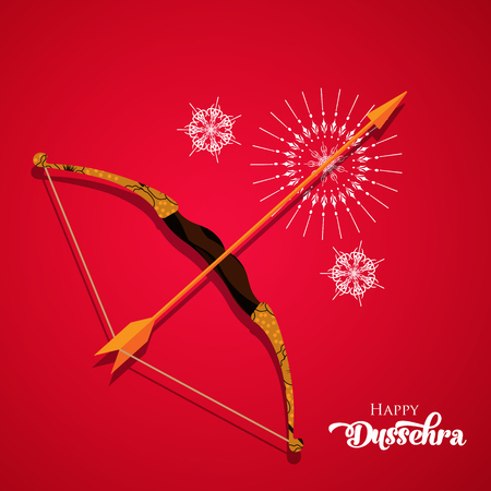 Vector background illustration for greetings. Happy Dussehra calligraphy with bow  illustration. Illustration