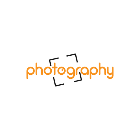 Vector icon for branding and identity illustration. Photography calligraphy on white background.