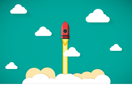 Vector rocket ship icon illustration for start up business.