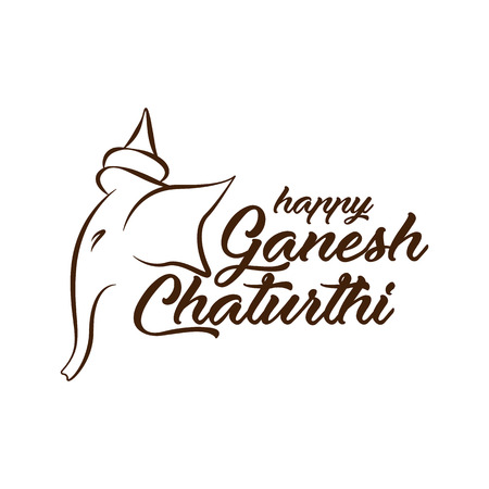 Vector illustration for banner and print. Happy Ganesh Chaturthi calligrapjy with elephant head illustration. Illustration
