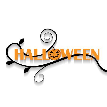 Vector icon illustration for any occasion. Halloween calligraphy on white background. Vectores
