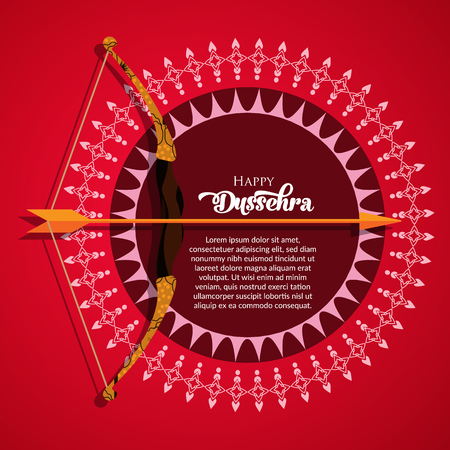 Vector background illustration for greetings. Happy Dussehra calligraphy with bow on red background.