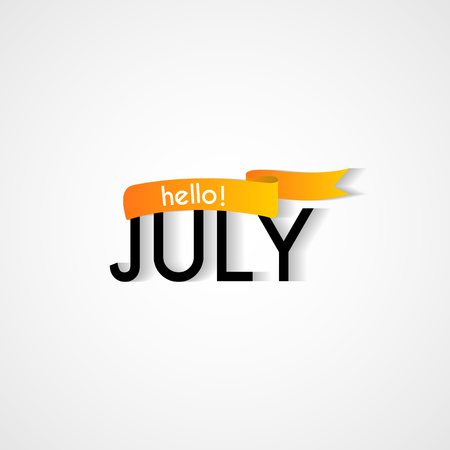 Vector Greeting Card Illustration For Any Occasion. Hello July Calligraphy  On White Background. Illustration