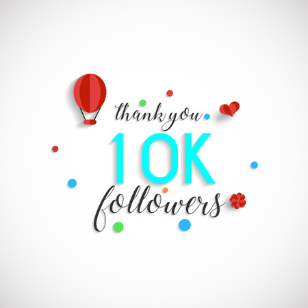 10k followers vector illustration for Web user celebrates a large number of subscribers