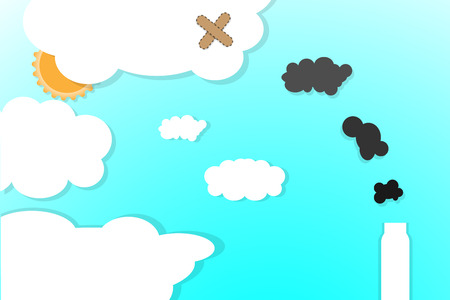 Vector air pollution background illustration flat design.