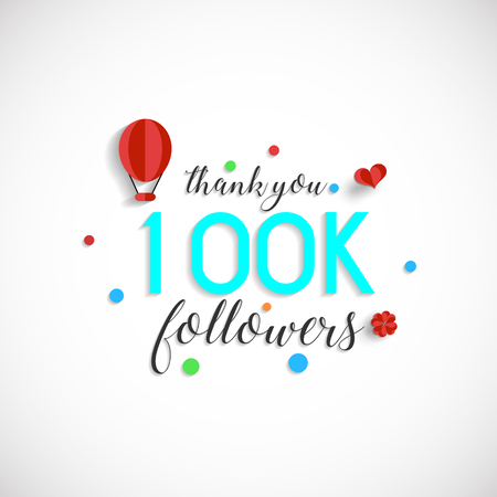 100k followers vector illustration for Web user celebrates a large number of subscribers