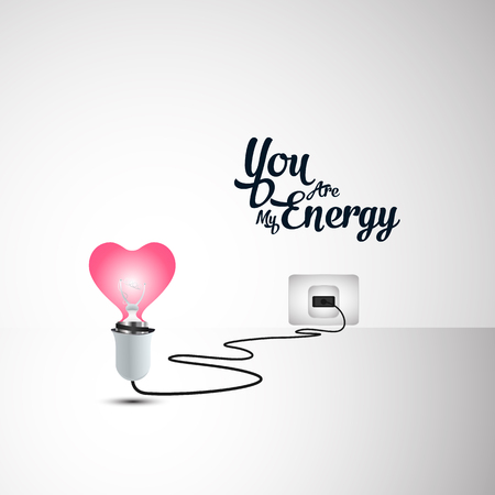 Love illustration concept, heart shaped light bulb plugged in the power. Valentine art background design idea