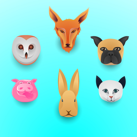Set of pet face cartoon illustration, cute animal head icon concept