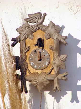 reloj cucu: reloj de cuco tradicional hangling en una pared