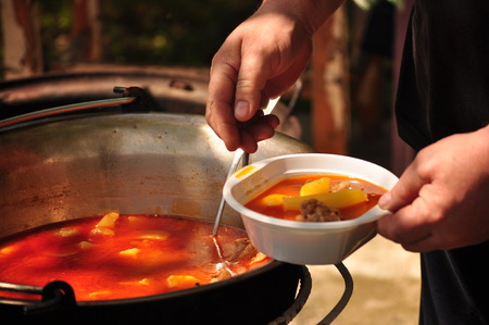 ration: One Traditional Goulash soup ration Stock Photo