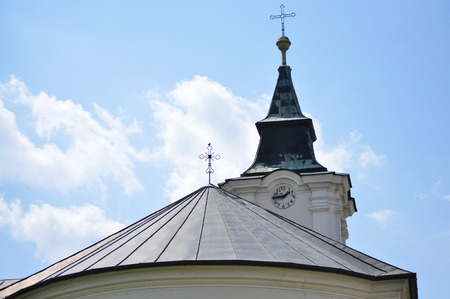 temple tower: Temple tower and temple roof in Szerencs city Stock Photo