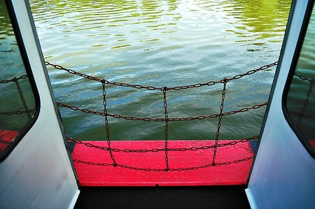iron barred: Ship security grill on the floor close up Stock Photo