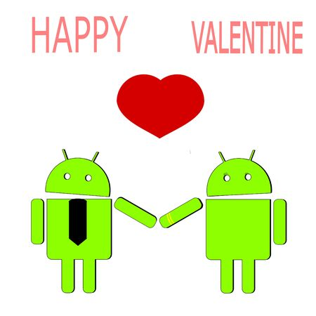 similar: Android lovers with red heart isolated background Illustration