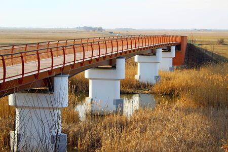 Footbridge in Hortobagy, Hungary Stok Fotoğraf