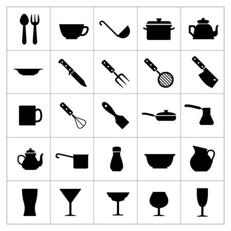 Set icons of dishware and kitchen accessories isolated on white Vector