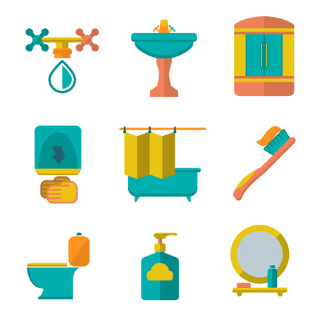Set flat icons of bathroom and toilet isolated on white Vector