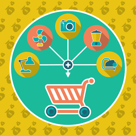 add to cart: Abstract internet shopping cart flat concept  Add to cart illustration with set icons
