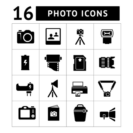 Set icons of photo isolated on white