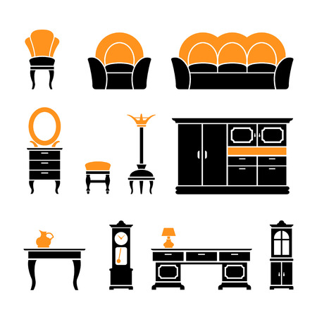 Set icons of retro furniture and home accessories isolated on white Vector