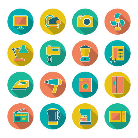 household objects equipment: Set flat icons of home technics and appliances isolated on white