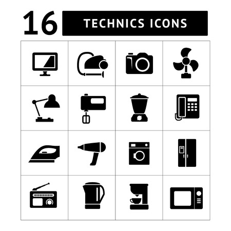 technics: Set icons of home technics and appliances isolated on white