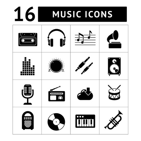 Set icons of music and sound isolated on white Vector