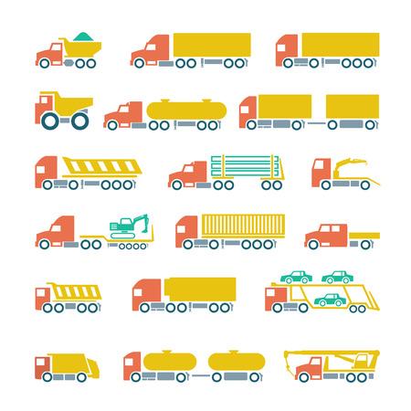 camión cisterna: Fije los iconos planos de camiones, remolques y vehículos aislados en blanco