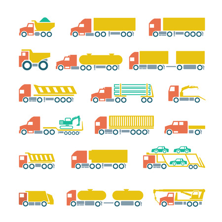 Set flat icons of trucks, trailers and vehicles isolated on white Vector