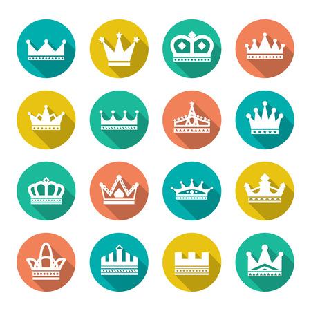 Set vlakke pictogrammen van de kroon op wit wordt geïsoleerd