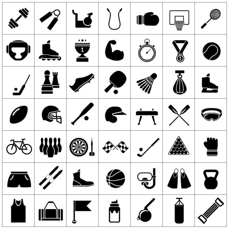 Set icons of sports and fitness equipment isolated on white Vector