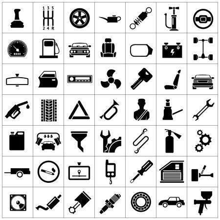 Fije los iconos de automóviles, piezas de automóviles, reparación y servicio de aislados en blanco Ilustración de vector