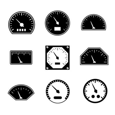 contador electrico: Conjuntos de iconos de velocímetros aislados en blanco