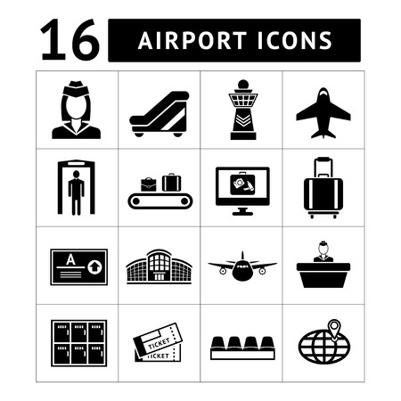 Set icons of airport isolated on white Vector