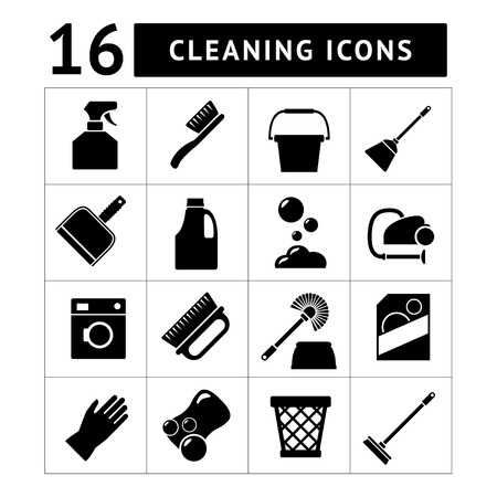 Set icons of cleaning isolated on white Stock Illustratie
