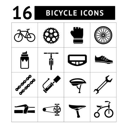 Set iconen van de fiets, fietsen, fietsonderdelen en apparatuur geà ¯ soleerd op wit Stock Illustratie